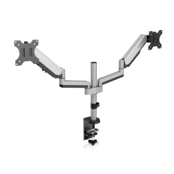V7 Soporte con Brazos Articulados para 2 Monitores 17''-32'', max. 8KGs, Negro/Plata