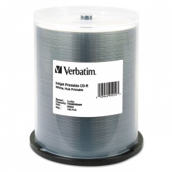 Verbatim Torre de Discos Virgenes Imprimibles para CD, CD-R, 52x, 100 Discos