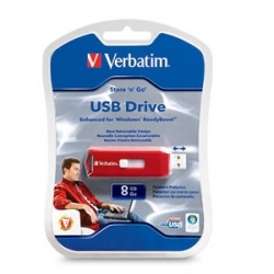 Memoria USB Verbatim Store 'n' Go, 8GB, USB 2.0, Rojo