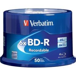Verbatim Torre de Discos Virgenes para Blu-Ray, BD-R, 6x, 25GB, 50 Piezas