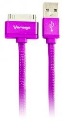 Vorago Cable USB A Macho - Apple 30-pin Macho, 1 Metro, Rosa