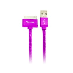 Vorago Cable USB A Macho - Apple 30-pin Macho, 1 Metro, Morado