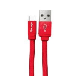 Vorago Cable USB A Macho - USB C Macho, 1 Metro, Rojo