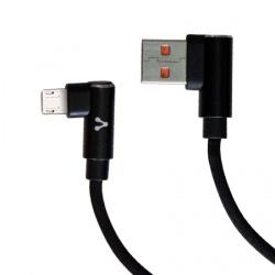 Vorago Cable USB Angulado Macho - Micro-USB Angulado Macho, 1 Metro, Negro