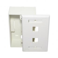 X-Case Caja con Tapa ACCREDFA2E, 2x RJ-45, Blanco