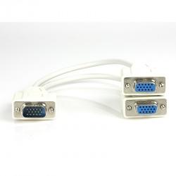 Xtech Cable VGA (D-Sub) Macho -  2x VGA (D-Sub) Hembra, 20cm, Blanco