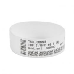 Zebra Z-Band Direct, Brazaletes Térmicos Directos Adhesivos Blancos para HC100, 0.75'' x 11'', 6 Rollos de 200 Brazaletes c/u