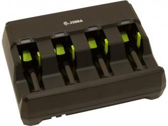 Zebra Cargador de 4 Baterias para Lector de Código de Barras, Negro