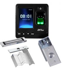 ZKTeco Control de Acceso y Asistencia Biométrico SF100, Pantalla 2.4'', 1500 Usuarios, USB, Negro — incluye Chapa Magnética, Soporte de Fijacion y Botón de Salida