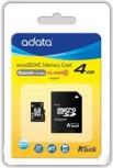 Memoria Flash Adata, 4GB microSDHC Clase 4, con Adaptador