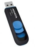 Memoria USB Adata DashDrive UV128, 64GB, USB 3.0, Negro/Azul