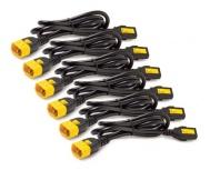 APC Cable de Poder C13 Macho - C14 Hembra, 60cm, Negro/Amarillo, 6 Piezas