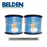 Belden Kit de Bobina de Cable UTP Cat6a, 305 Metros, Azul, 2 Piezas + Panel de Parcheo de 24 Puertos AX103254
