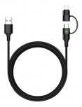 Binden Cable USB-A Macho - USB-C/Lightning Macho, 1.2 Metros, Negro