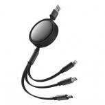 Binden Cable Retráctil USB-A Macho - Micro USB/USB-C/Lightning Macho, 1.2 Metros, Negro