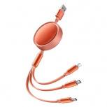 Binden Cable Retráctil USB A Macho - USB C/Micro-USB B/Lightning Macho, 1.2 Metros, Naranja