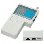 BRobotix Probador de Cables 000421, BNC/RJ-11/RJ-45/USB, Blanco