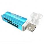 BRobotix Lector de Memoria 180420A, MS Duo/MicroSD/SD, USB 2.0, Azul