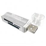 BRobotix Lector de Memoria 180420P, MS Duo/MicroSD/SD, USB 2.0, Plata