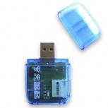 BRobotix Lector de Memoria 896523A, MicroSD/SD/M2, USB, Azul