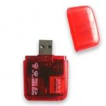 BRobotix Lector de Memoria 896523R, MicroSD/SD, USB 2.0, Rojo