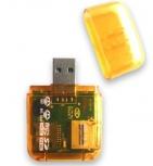 BRobotix Lector de Memoria 896523Y, MicroSD/SD/M2, USB, Amarillo