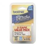 Cinta Brother M2312PK Negro sobre Blanco, 1.2mm x 8m, 2 Piezas