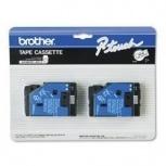 Cinta Brother TC20 Negro sobre Blanco, 12mm x 7.7 Metros, 2 Piezas