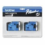 Cinta Brother TZE2312PK Negro sobre Blanco, 9mm x 7.7m, 2 Piezas