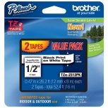 Cinta Brother TZE2312PK Negro sobre Blanco, 1.2mm x 8m