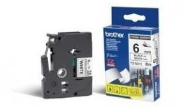Cinta Brother TZe-S211 Negro sobre Blanco Extra Adhesiva, 6mm x 8m, para PTD600