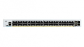 Switch Cisco Gigabit Ethernet Catalyst 1000, 48 Puertos PoE+ 370W, 4 Puertos SFP, 104 Gbit/s, 15.360 Entradas - Gestionado