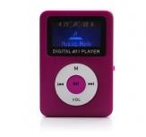 Data Components Lector Micro SD y Reproductor MP3 con Pantalla y Bocina, USB 2.0, Rosa