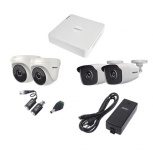 Epcom Kit de Vigilancia KESTXLT2B/2DW de 2 Cámaras Bullet y 2 Cámaras Domo CCTV, 4 Canales, con Grabadora