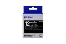 Cinta Epson LabelWorks Standard LK Blanco sobre Negro, 12mm x 9m