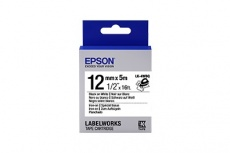 Cinta Epson LabelWorks LK-4WBQ Negro sobre Blanco, 12mm x 5m