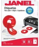 Janel Etiqueta Blanca para CD/DVD, 117mm, 50 Etiquetas, Blanco