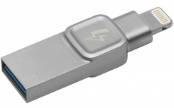 Memoria USB Kingston Bolt Duo, 32GB, USB 3.0/Lightning, Plata
