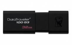 Memoria USB Kingston DataTraveler 100 G3, 32GB, USB 3.0, Negro - para Mac/Windows