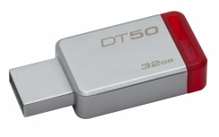 Memoria USB Kingston DataTraveler 50, 32GB, USB 3.0, Plata/Rojo