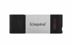 Memoria USB Kingston DataTraveler 80, 32GB, USB 3.2, Negro/Plata