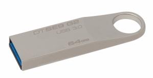 Memoria USB Kingston DataTraveler SE9 G2, 64GB, USB 3.0, Metálico