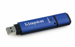 Memoria USB Kingston DataTraveler Vault Privacy 3.0, 64GB, USB 3.0, Negro/Azul