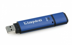 Memoria USB Kingston DataTraveler Vault Privacy 3.0, 8GB, USB 3.0, Negro/Azul