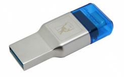 Kingston Lector de Memoria MobileLite Duo 3C, MicroSD, USB 3.0, 10Mbit/s, Azul/Plata