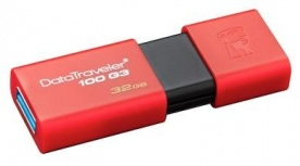 Memoria USB Kingston DataTraveler 100 G3, 32GB, USB 3.1 A, Rojo