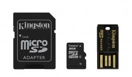 Kingston 8GB Multi Kit / Mobility Kit Clase 4, incl. Tarjeta microSDHC con Adaptadores SD y USB