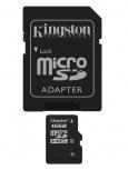 Memoria Flash Kingston, 16GB microSDHC Clase 4, con Adaptador