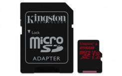 Memoria Flash Kingston Canvas React, 256GB MicroSDXC USH-I Clase 10, con Adaptador