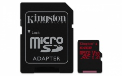 Memoria Flash Kingston Canvas React, 64GB MicroSDXC UHS-I Clase 10, con Adaptador
